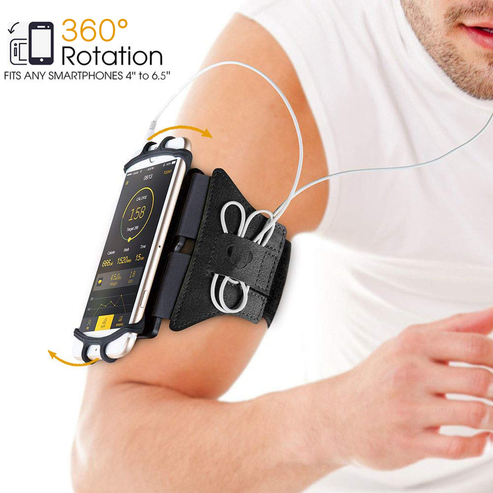 360° Rotatable Sports Armband, Sweatproof Cellphone Holder Case Arm Band Strap Pouch w/ Adjustable Strap Built-in Key Holder Exercise Hiking Biking Running Workout Compatible iPhone Android Smartphone
