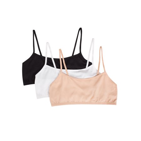 - Wonder Nation Girls Spaghetti Strap Cotton Crop Bra, 3 Pack