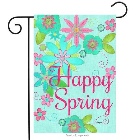 Happy Spring Flowers Garden Flag Seasonal Floral 12.5