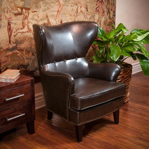 Christopher Knight Home Warner Bonded Leather High Back Chair Brown