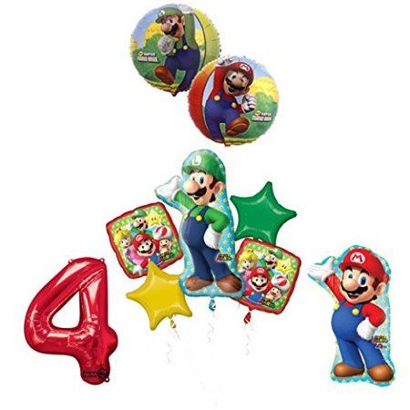 The ULTIMATE Super Mario Brothers and Luigi 4th Birthday Party supplies - Mario Birthday Party