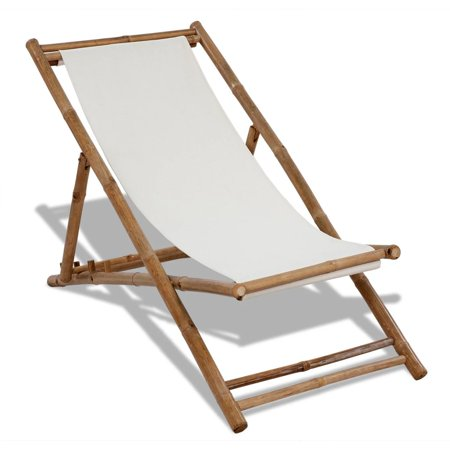 Folding Canvas Chair Chaise Lounge Chair Bamboo Deck Chair with 4 Adjustable Reclining Positions for Outdoor Patio Garden (Bamboo Restaurant Lounge)