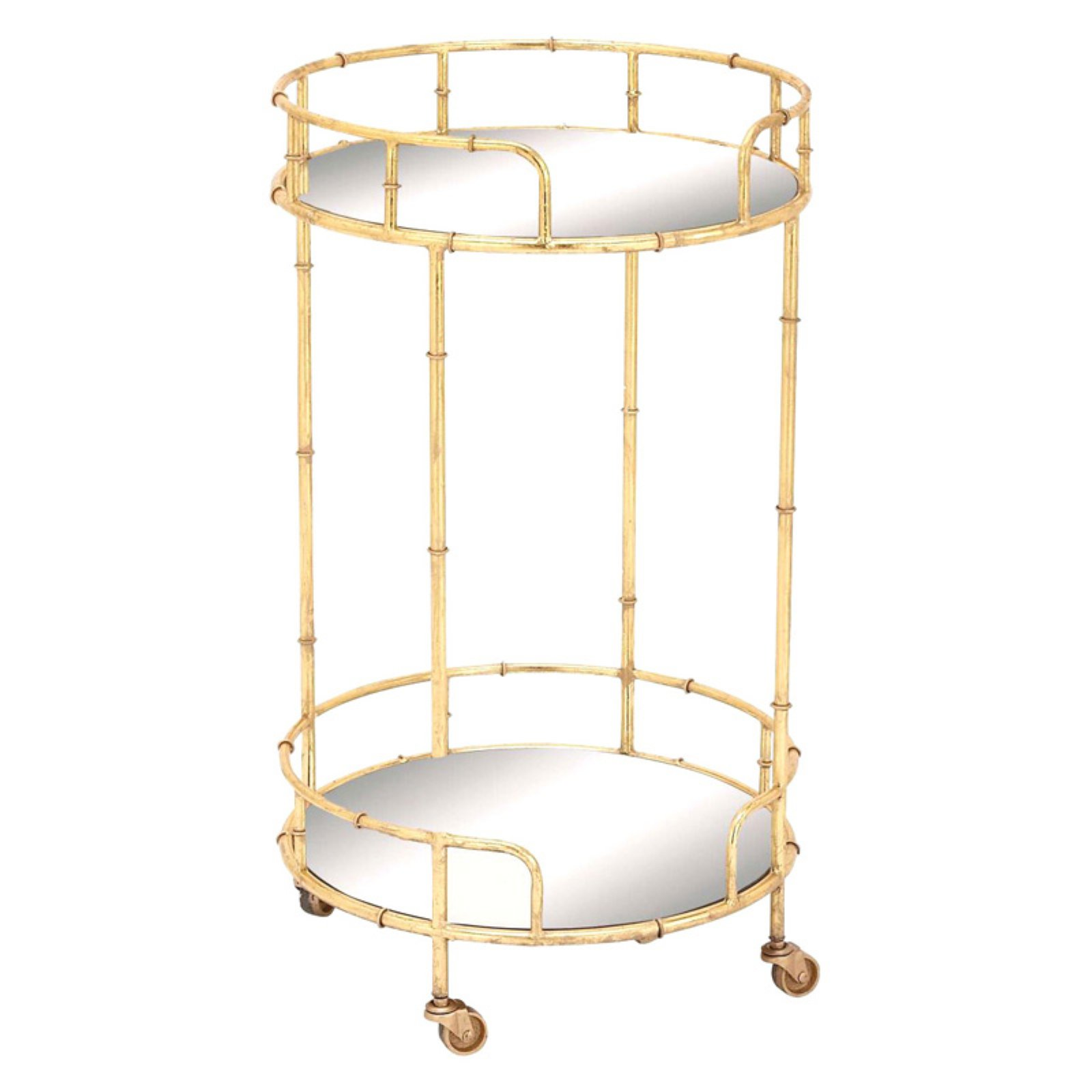 Benzara Gorgeous Metal Mirror Bar Cart
