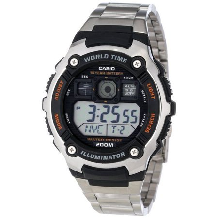 Casio AE2000WD-1AV Men's Stainless Steel 5 Alarm World Time Digital Sports Watch