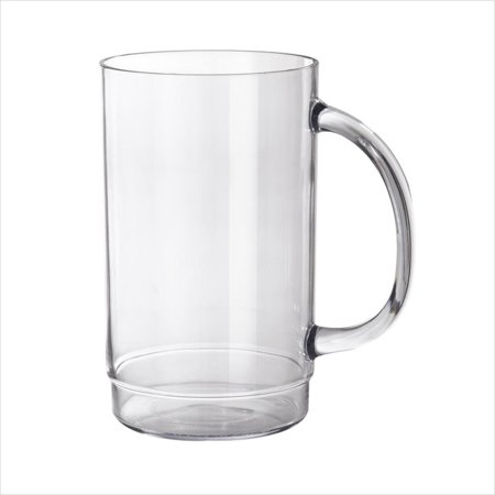 Plastic Reusable 20 oz 3.25 x 5.5 Beer Mug with Handle Clear SAN/Case of 24 (Plastic Beer)