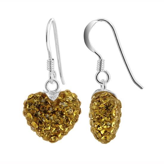 925 Sterling Silver 12mm Heart Topaz Color French Ear Wire Dangle Earrings