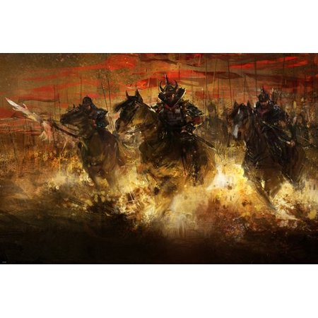 - Chinese Warriors Painting Poster 24X36 Historic Impressionistic Art Gem