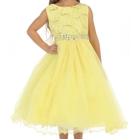 Toddler Girl Glitters Sequined Bodice Double Layer Tulle Rhinestones Flower Girl Dress Yellow 2 JK3670 BNY Corner
