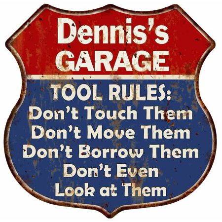 Dennis's Garage Man Cave Rules Personalized Gift Shield Metal Sign