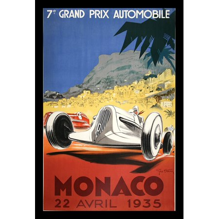 IF VINT1002 18x12 1.25 Black Plexi Framed Monaco 1935 Grand Prix Automobile George Ham 18X12 Vintage Travel Art Print Poster Reproduction Car Racing French France Monte Carlo..., By Buyartforless