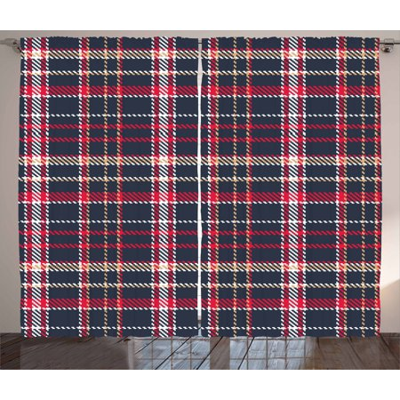 Red Plaid Curtains 2 Panels Set Classic Quilt Checkerboard Pattern With Pixel Art Inspirations Traditional