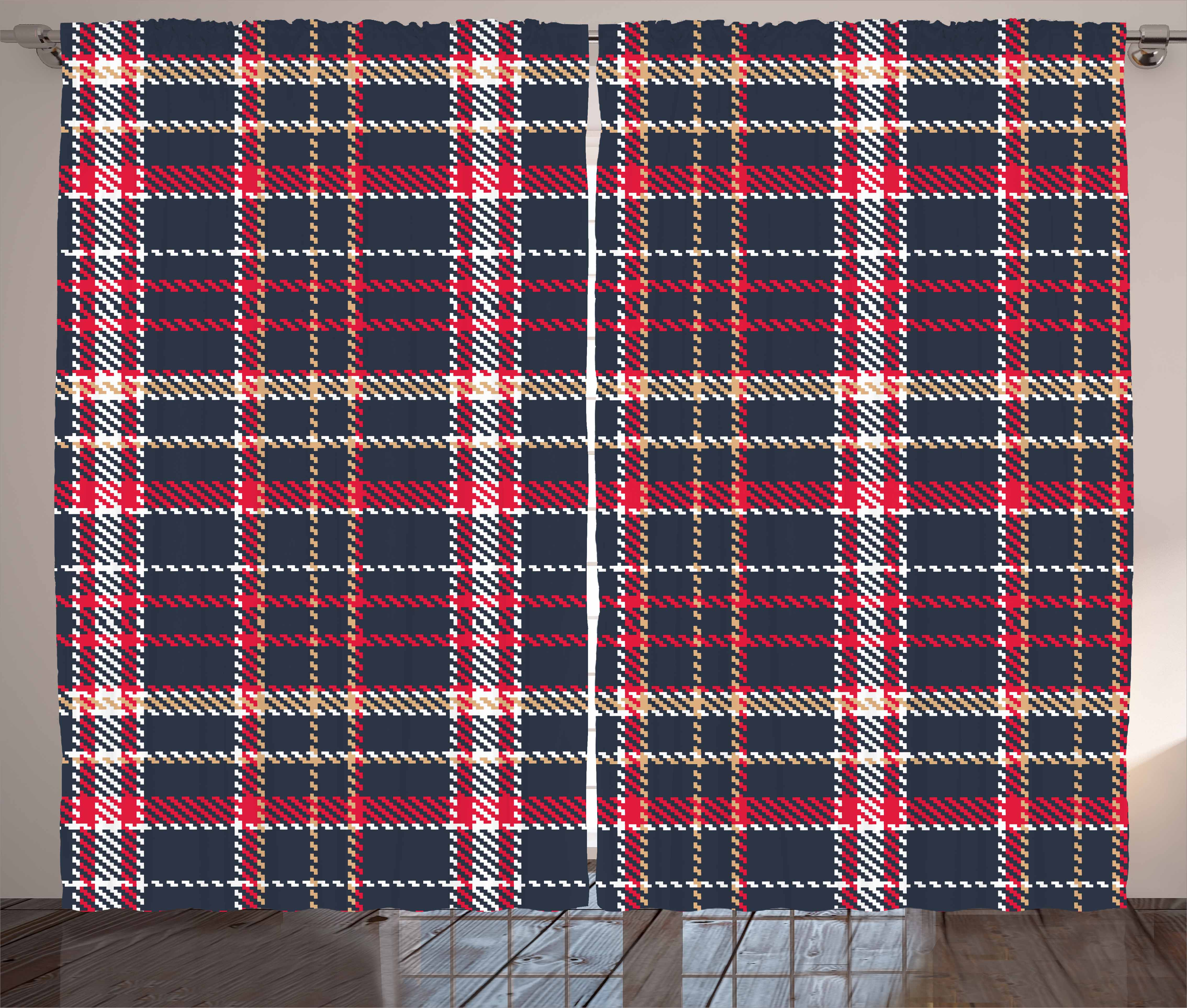 Red Plaid Curtains 2 Panels Set, Classic Quilt Checkerboard Pattern With  Pixel Art Inspirations Traditional
