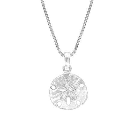 Sterling Silver Sand Dollar Necklace Pendant with 18