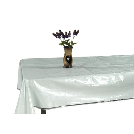 Ottomanson Heavy Duty Clear Plastic Tablecloth Clear Table Cover Protector White Sewn Edges Border Tablecloth, 60