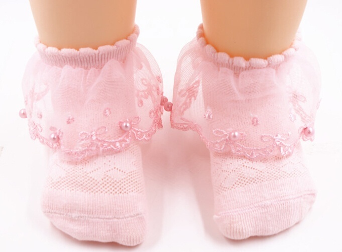 Newborn Baby Girls Solid Color Breathable Cotton Elastic Princess Lace Socks
