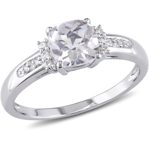 1-1/4 Carat T.G.W. White Topaz and Diamond Accent Ring in 10kt White Gold