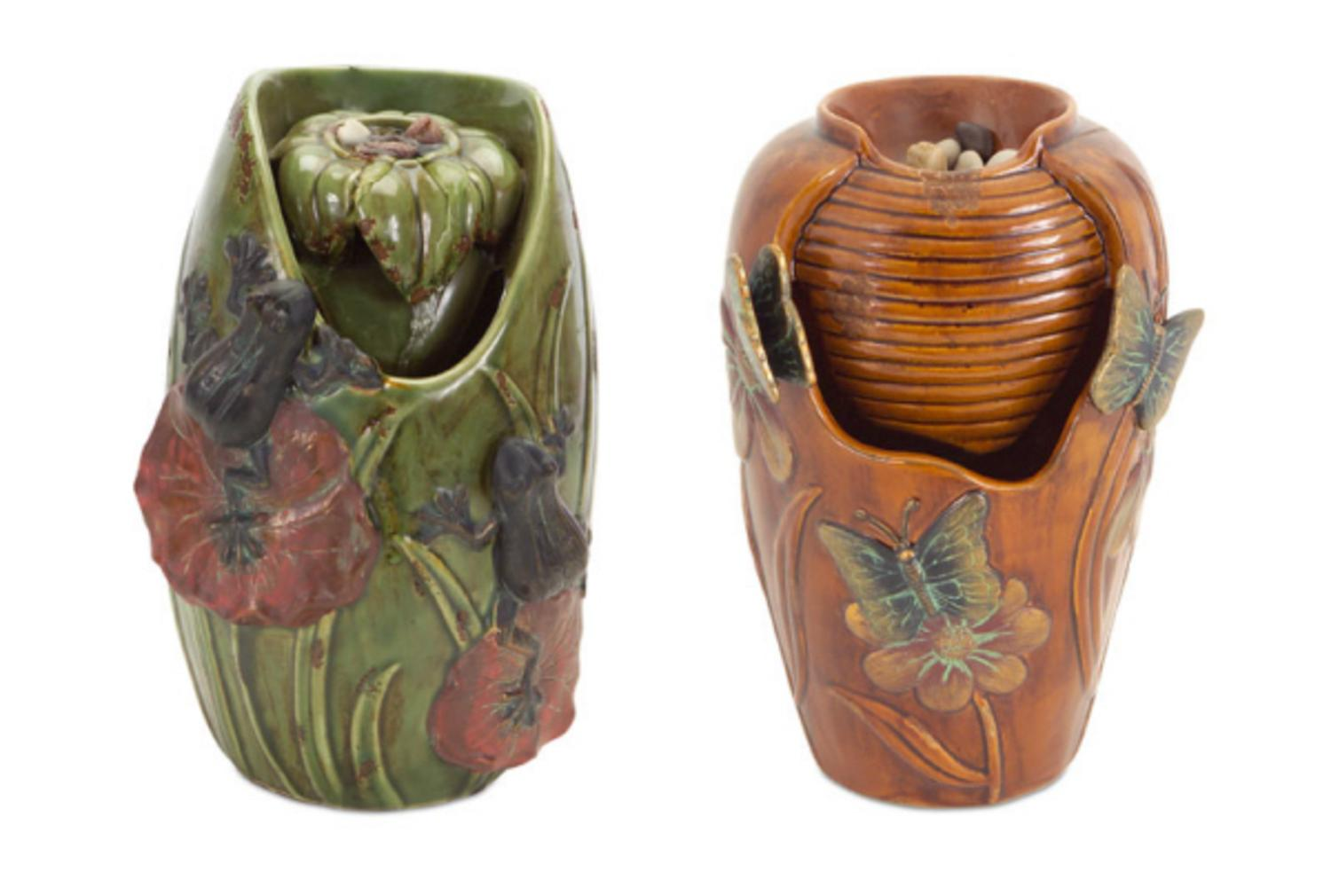 """Set of 2 Brown Butterfly and Green Frog Flower Indoor Urn Style Water Fountain 10.5"""" by Melrose"""