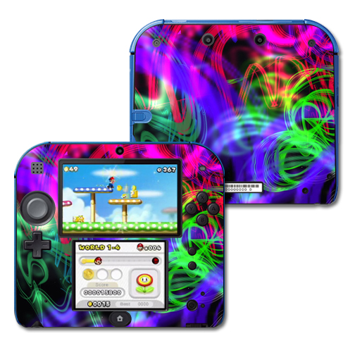 Mightyskins Protective Vinyl Skin Decal Cover for Nintendo 2DS wrap sticker skins Neon Splatter