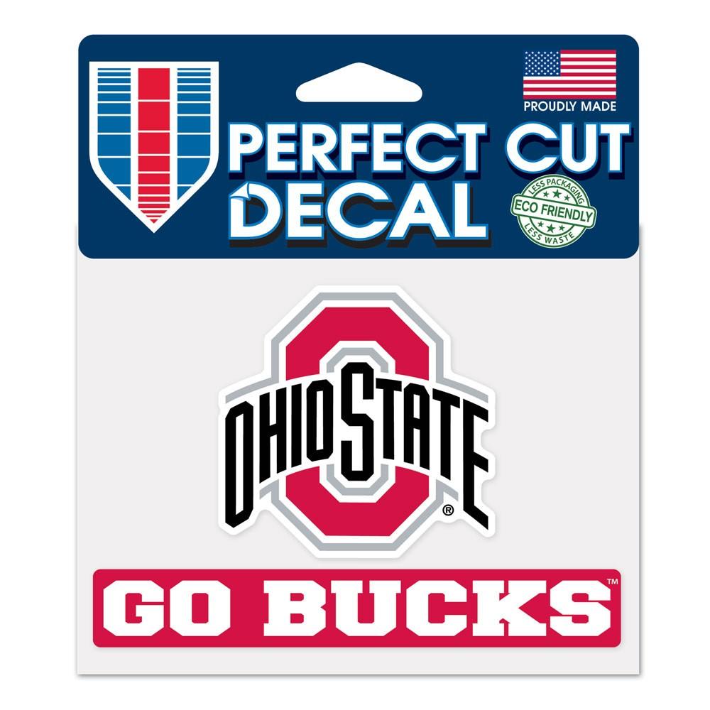 Ohio State Buckeyes Official NCAA 4.5 inch  x 5.75 inch  Go Bucks Perfect Cut Car Decal by WinCraft