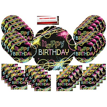 Glow Party Supplies Bundle Pack for 16 (17 Inch Balloon Plus Party Planning Checklist by Mikes Super Store) - Party City Glow In The Dark