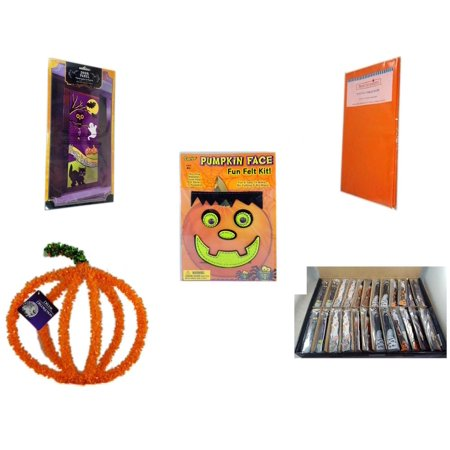 Halloween Fun Gift Bundle [5 Piece] - Happy  Door Panel - Bright Pumpkin Orange Plastic Table Cover  - Darice Pumpkin Face Fun Felt Kit - Frankenstein -  Pumpkin Plastic on Wire Decoration - Large B