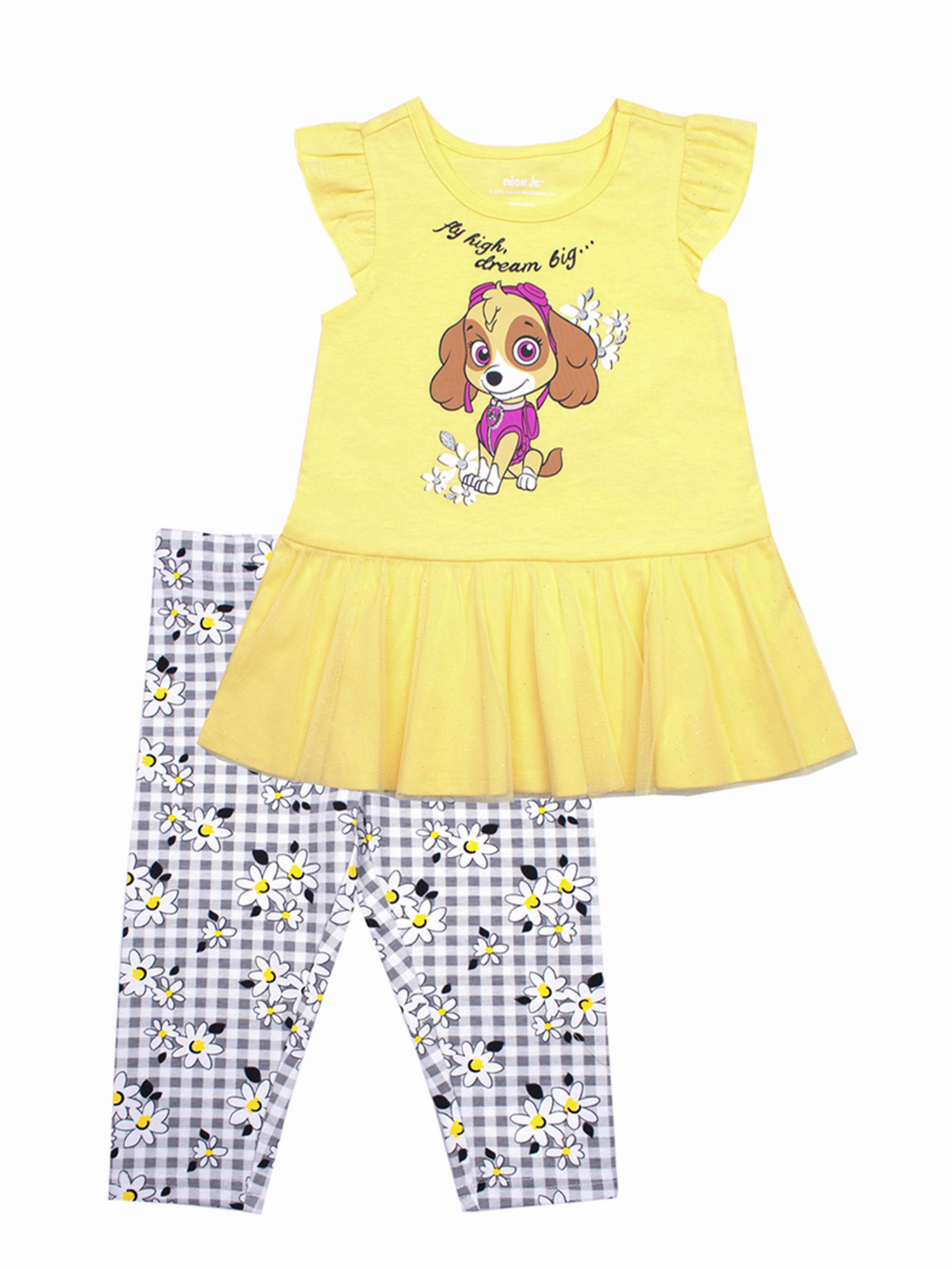 Skye Tulle Hem Top and Legging, 2-Piece Outfit Set (Little Girls)