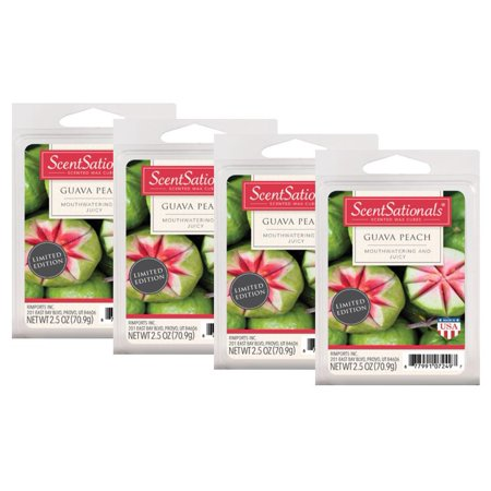 ScentSationals 2.5 oz Guava Peach Scented Wax Melts, 4-Pack