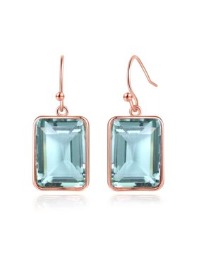 Peermont Emerald Cut Green Amethyst Drop Earrings in 18K Rose Gold Overlay