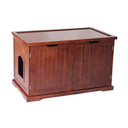 Zooville Cat Washroom Litter Box Cover / Night Stand Pet House, Walnut