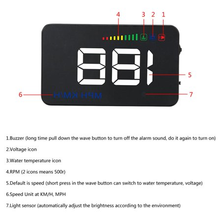 Ejoyous A500 Head Up Display,Car HUD Display,3.5inch A500 Universal Car HUD Head Up Display RPM Overspeed Warning OBD2 Windshield Projector - image 13 of 13