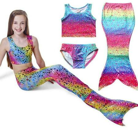 4-8Y Kids Girls Mermaid Tail Swimmable Bikini Set Swimwear Swimsuit Swimming