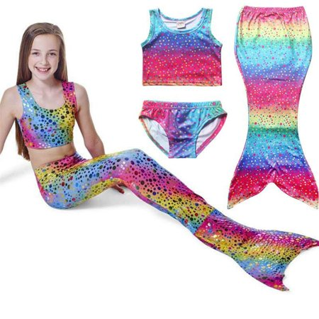 4-8Y Kids Girls Mermaid Tail Swimmable Bikini Set Swimwear Swimsuit Swimming Costumes (Cheap Swimming Mermaid Tail)