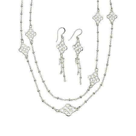 Long Link Earrings - Sterling Silver Floral Link Dangle Earrings, Long Italy Necklace, 46