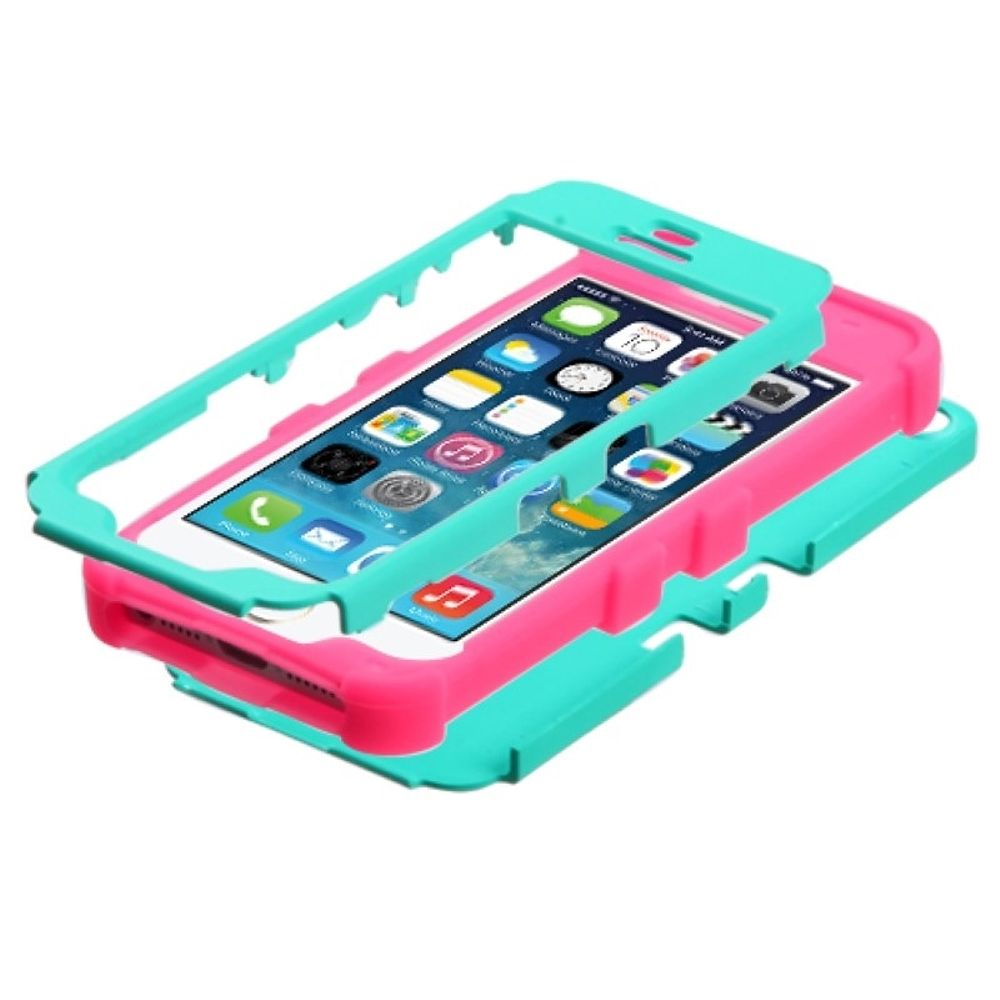 Insten Tuff Hard Hybrid Rubber Silicone Cover Case For Apple iPhone 5/5S/SE - Turquoise/Hot Pink