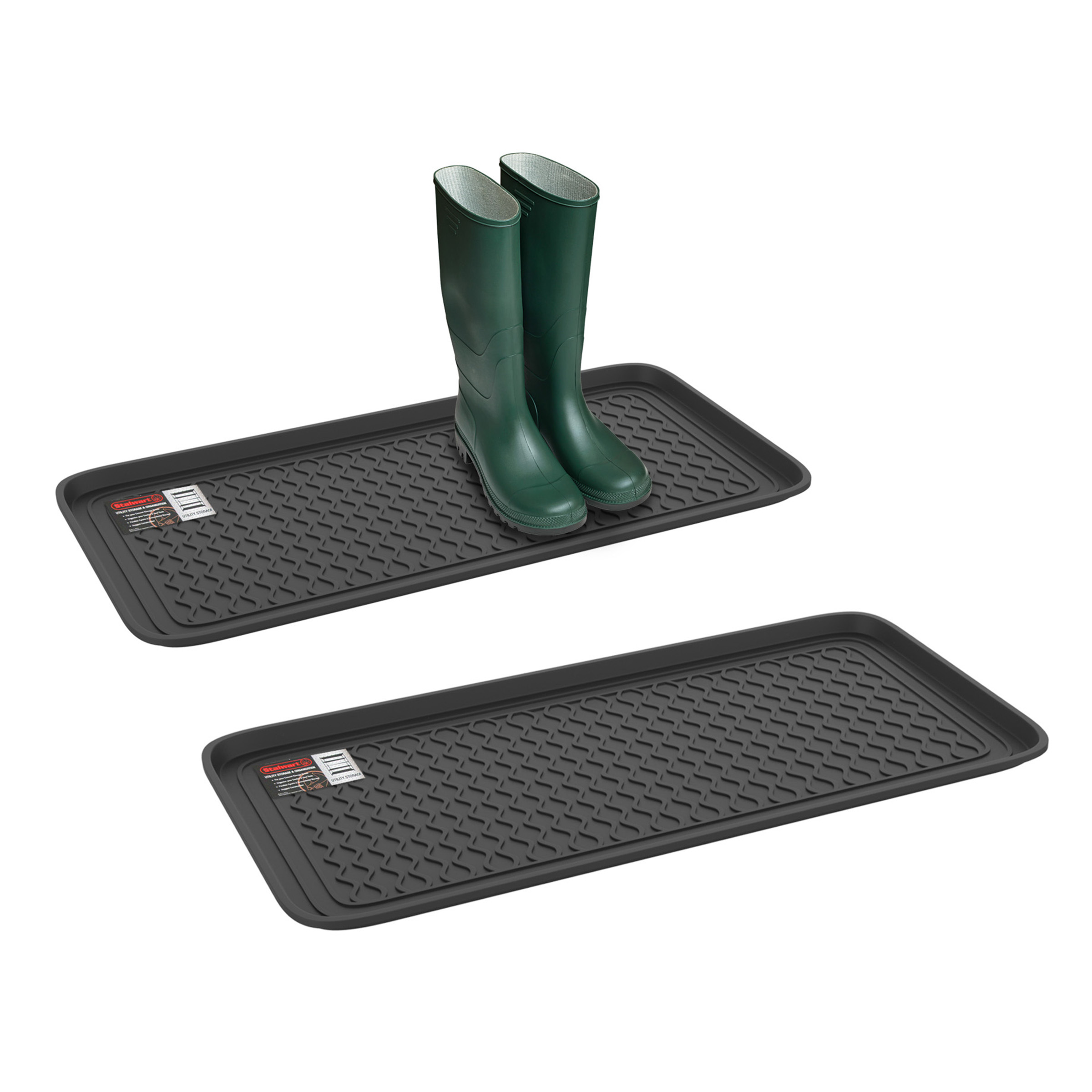 Stalwart All Weather Boot Tray in Multiple Sizes (Set of Two, Black)