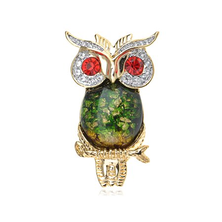 Ruby Red Crystal Rhinestone Eye Green Gold Tone Foil Bead Owl Bird Pin Brooch