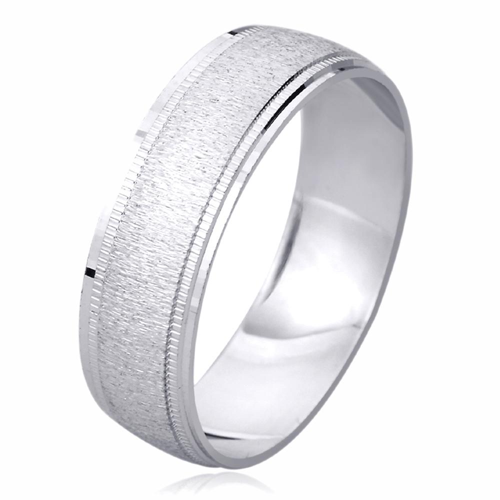 Pristine J 14K White Gold Wedding Band 6mm Machine Cut Patterned Ring