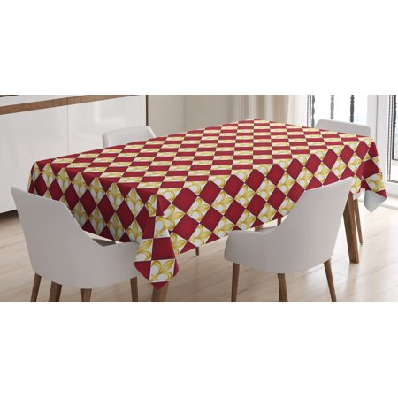 Fleur De Lis Tablecloth, Geometrical Rhombus Arrangement Western Culture Royal Lily Pattern, Rectangular Table Cover for Dining Room Kitchen, 52 X 70 Inches, Ruby Yellow White, by Ambesonne