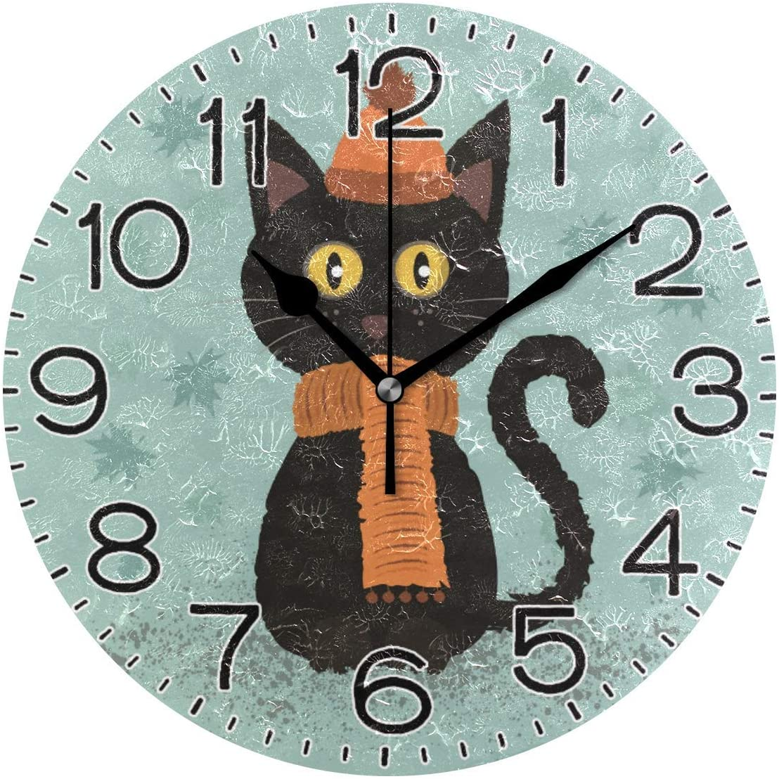 Wall Clock Wooden European Non Ticking Battery Operated Modern Simple Style Design Silent Bedroom Kitchen Living Room Decor 12-inch Clocks Color : A