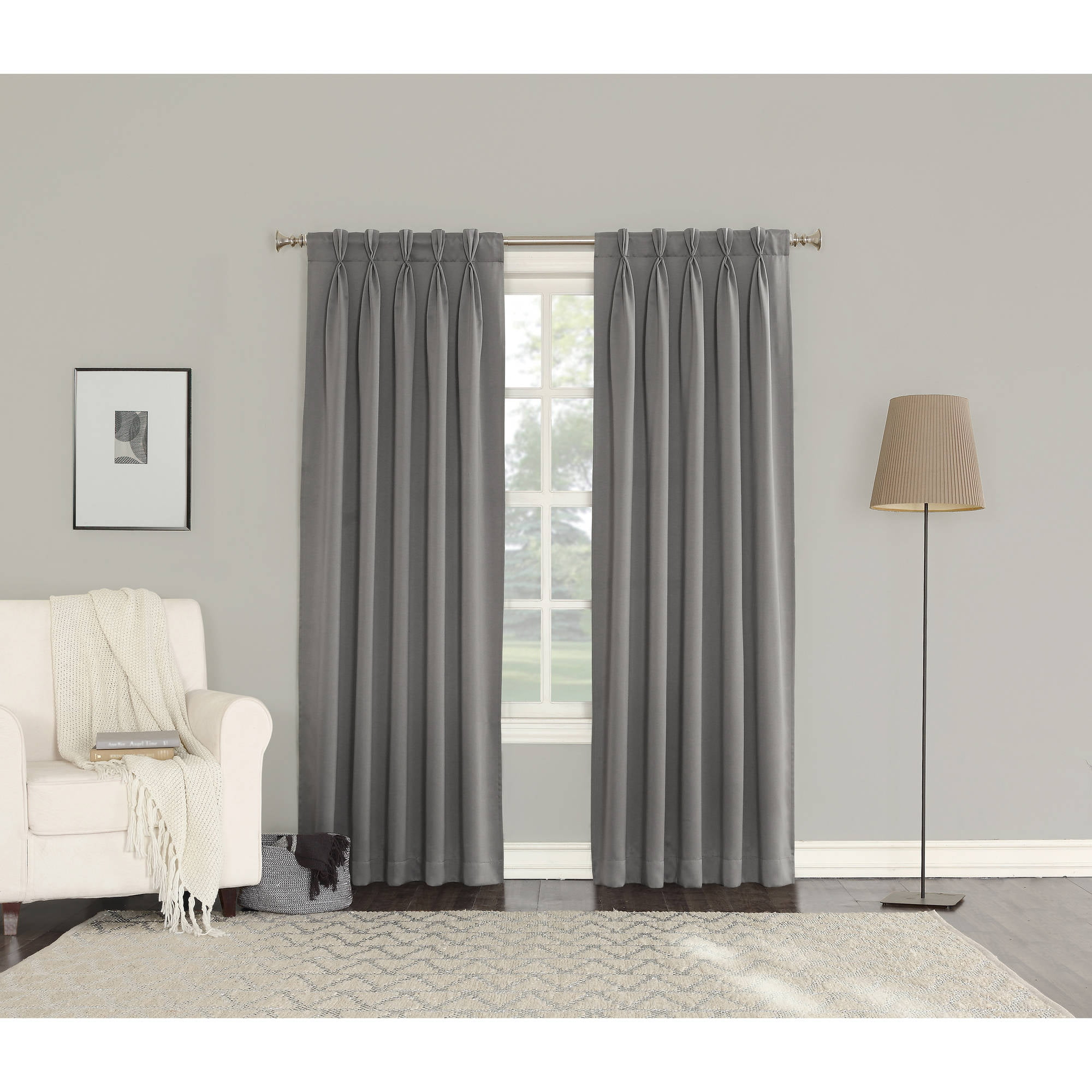 sun zero bartlett pinch pleat back tab room darkening panel pair set of 2 walmartcom