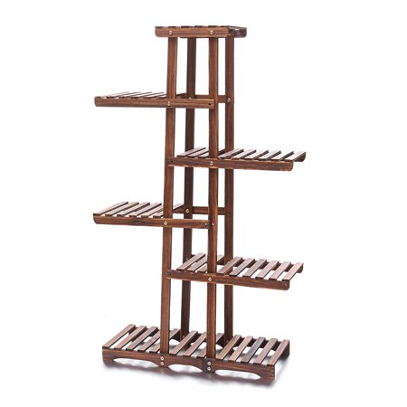 Wood Plant Stand Indoor Outdoor 6 Tier Vertical Carbonized Multiple Planter Holder Flower Ladder Stair Shelf Garden Balcony Patio Corner Pot Display Storage Rack ()