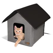"K Outdoor Heated Kitty House, Grey/Black, 18"" x 22"" x 17"", 20W"