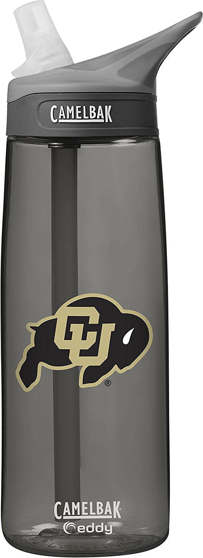 NCAA Colorado Buffaloes Unisex CamelBak Eddy 75L Collegiate Water Bottle, CHARCOAL, 75 Liter by