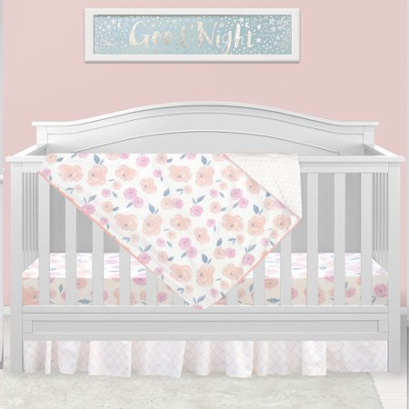 Vintage Rose Watercolor Floral ,3 Piece Crib Bedding Set, for Baby Girl Nursery