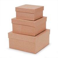 Paper Mache Square Box Set of 3