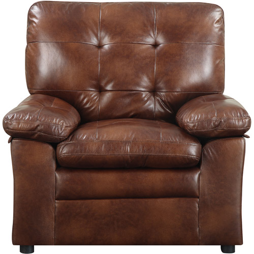 Mainstays Buchannan Faux Leather Chair Chestnut Walmart Com