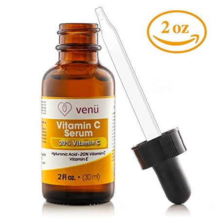 Venu Vitamin C Serum, with Hyaluronic Acid, Aloe and Vitamin E. Skin Nutrient, helps Smooth Facial Skin Fade Age Spots, Lighten Dark Eye Circles and Fine Lines 2 oz (2 (Best Vitamin C Hyaluronic Serums)