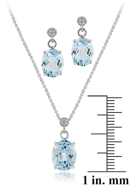 Sterling Silver Blue Topaz and Diamond Necklace and Earring Set