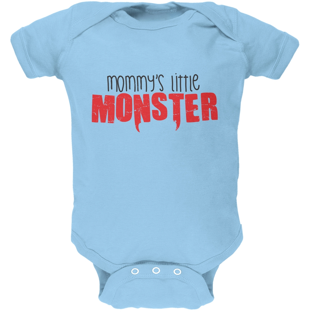 Mommy's Little Monster Light Blue Soft Baby One Piece
