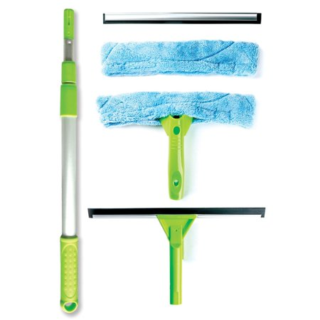 Professional Telescopic Window Cleaning Kit with Super Squeegee, All - In - One 5 Piece Set includes Microfiber Glass Washer, Soft Rubber Strip, and 3 Section Aluminum Extension Pole, Best for